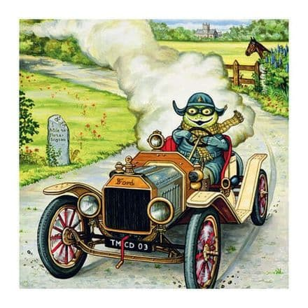 Only Way to Travel - Blank Greeting / Birthday Card - Wind in Willows Toad Car